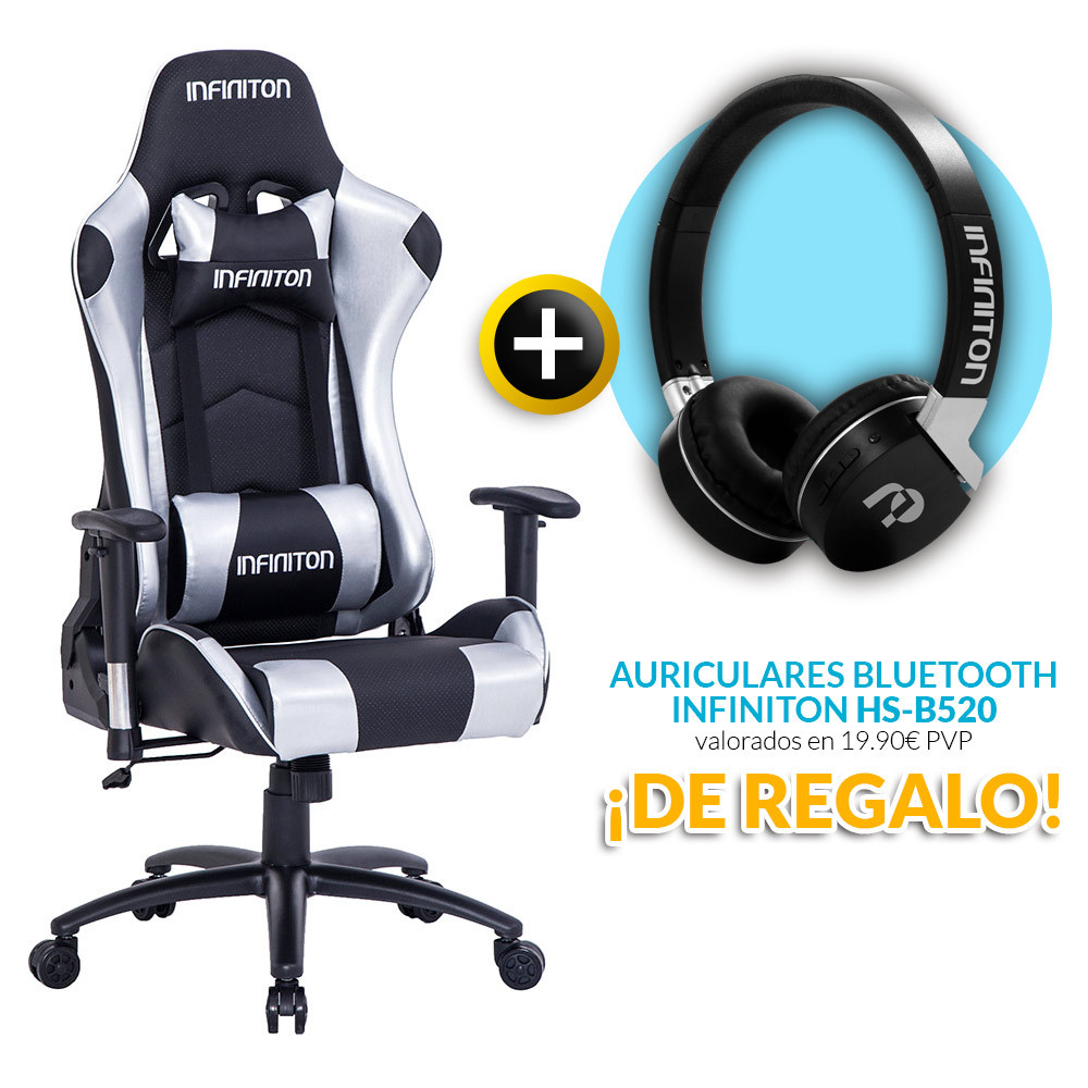 PACK: Silla Gaming Infiniton G SEAT Silver + REGALO: Auriculares Infiniton HS B520 Negros
