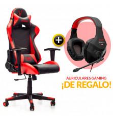 PACK: Silla Gaming Roja + Auriculares Gaming