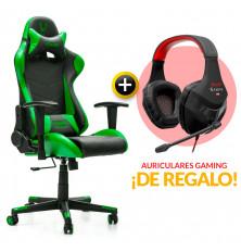 PACK: Silla Gaming Verde + Auriculares Gaming