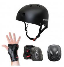 Kit de protección INFINITON: Casco + 3 Extremidades - Negro