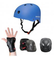 Kit de protección INFINITON: Casco + 3 Extremidades - Azul