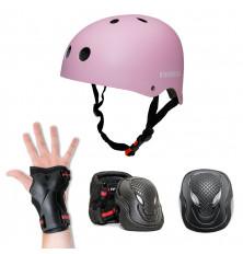 Kit de protección INFINITON: Casco + 3 Extremidades - Rosa